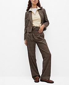 Women's Check Crop Blazer