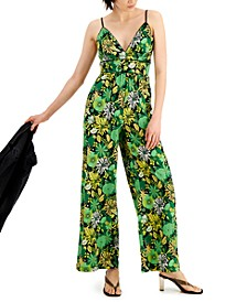 INC Cotton Printed Piped-Trim Jumpsuit, Created for Macy's