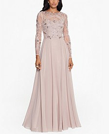 Petite Mesh-Sleeve Embellished Gown