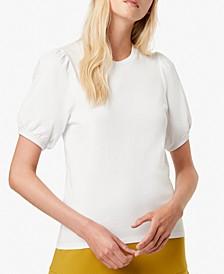 Puff-Sleeve Crewneck Cotton Top