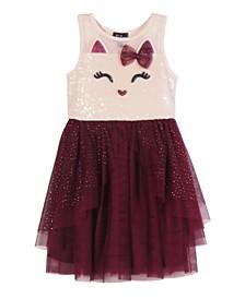Little Girls Glitter Printed Tiered Skirt Dress