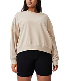 Trendy Plus Size Harper Crew Crop Pullover Sweater