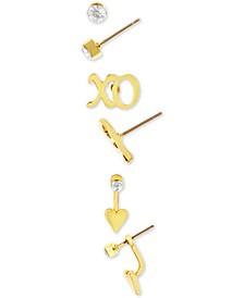 Gold-Tone 3-Pc. Set Crystal, XO & Heart Earrings
