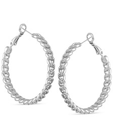 Medium Pavé Chain-Link Hoop Earrings, 1.5""