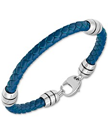 Men's Woven Blue Leather Bracelet in Stainless Steel & Black Ion-Plate