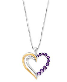 "Amethyst Heart 18"" Pendant Necklace (5/8 ct. t.w.) in Sterling Silver and 10k Gold (Also in Rhodolite Garnet)"