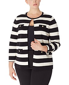 Plus Size Striped Cardigan