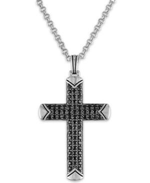 """Black Sapphire Cross 22"""" Pendant Necklace (2-1/3 ct. t.w.) in Sterling Silver"""