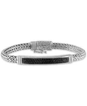 Black Diamond Bar Woven Link Bracelet (5/8 ct. t.w.) in Sterling Silver