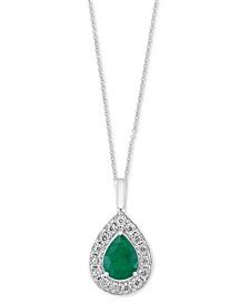 "EFFY® Emerald (1-1/8 ct. t.w.) & Diamond (1/5 ct. t.w.) Teardrop Halo 18"" Pendant Necklace in 14k White Gold"
