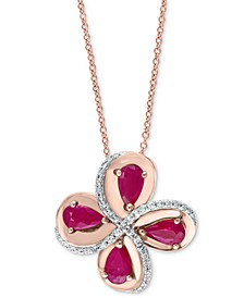 "EFFY® Ruby (7/8 ct. t.w.) & Diamond (1/10 ct. t.w.) Flower 18"" Pendant Necklace in 14k Rose Gold"