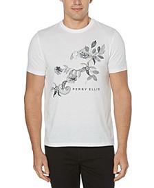 Men's Placed Sketch Floral Print Short Sleeve Tee