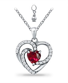 Created Ruby and Cubic Zirconia Heart Pendant
