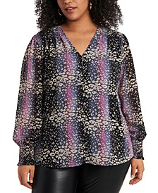 Trendy Plus Size Sheer Long-Sleeve Printed Top