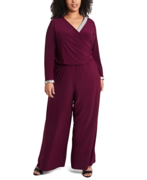 30s Outfits, Ideas for Women Msk Plus Size Rhinestone Palazzo Jumpsuit $88.99 AT vintagedancer.com