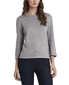 Women's Petite 3/4-Sleeve Lurex Top