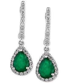 Brasilica by EFFY® Emerald (1-1/8 ct. t.w.) and Diamond (1/4 ct. t.w.) Drop Earrings in 14k White Gold, Created for Macy's