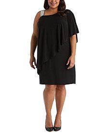 R & M Richards Plus Size Rhinestone-Trim One-Shoulder Dress