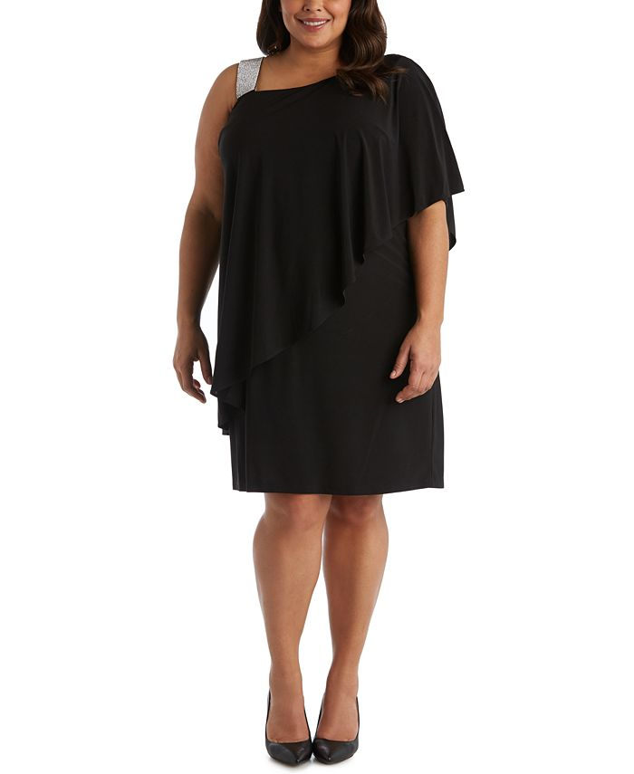R & M Richards - Plus Size Rhinestone-Trim One-Shoulder Dress