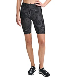 Sport Marble-Print High-Waist Bike Shorts