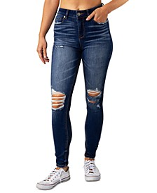 Juniors' High Rise Curvy Ripped Skinny Jeans