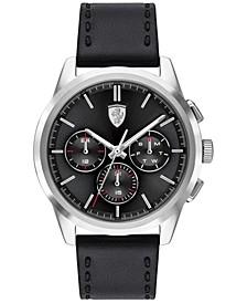Men's Chronograph Grand Tour Black Leather Strap Watch 44mm