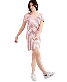 Cotton Logo V-Neck T-Shirt Dress