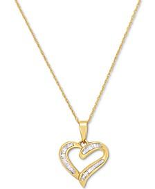 "Diamond Baguette Heart 18"" Pendant Necklace (1/4 ct. t.w.) in 14k Gold"