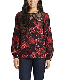 Women's Lace Yoke Victorian Blooms Printed Blouse