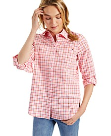 Easy Care Cotton Plaid Tabbed Shirt
