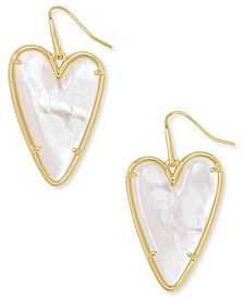 14k Gold-Plated Gemstone Heart Drop Earrings