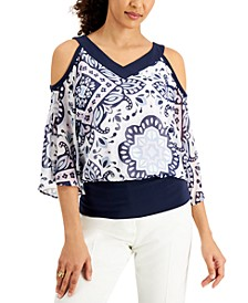 Printed Cold Shoulder Top, Created for Macy's