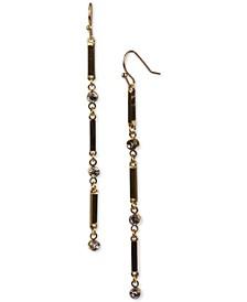 Gold-Tone Bar & Crystal Linear Drop Earrings