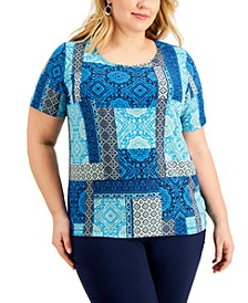 Plus Size Patchwork-Print Top, Created for Macy's