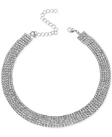 """Silver-Tone Rhinestone Wide Choker Necklace, 13"""" + 3"""" extender, Created for Macy's"""