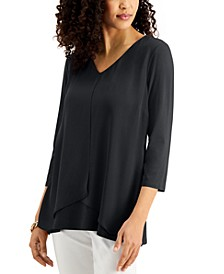 Solid 3/4-Sleeve Chiffon-Overlay Top, Created for Macy's