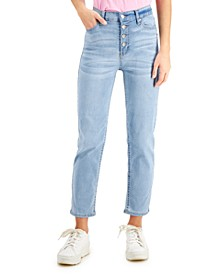 Juniors' High-Rise Button-Fly Slim-Straight Jeans