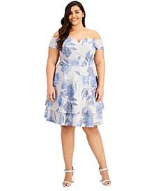 Trendy Plus Size Floral-Print Off-The-Shoulder Dress