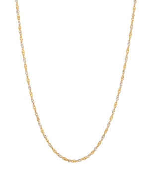 """Polished Two-Tone Diamond Cut 16"""" Singapore Chain in 10K Yellow Gold and White Rhodium"""