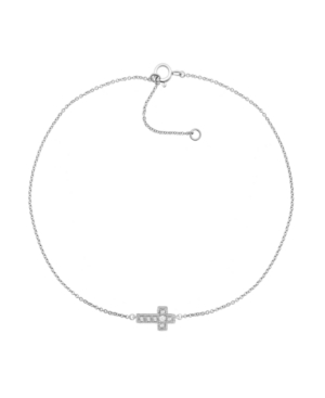 """Macy's Diamond Accent Cross Anklet In Sterling Silver, 9"""" + 1"""" Extender"""