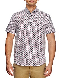 Men's Slim Fit Medallion Print Short Sleeve Shirt and a Free Face Mask