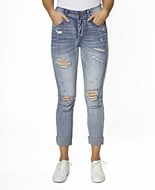 Juniors' High Rise Cuffed Raw Hem Vintage-Like Fit Jeans