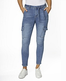 Juniors' Mid Rise Self Belt Cargo Skinny Jeans