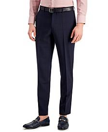 Hugo Boss Men's Slim-Fit Superflex Stretch Dark Blue Micro-Plaid Suit Pants