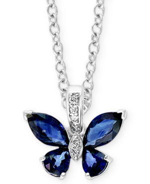 """Effy Sapphire (1-7/8 ct. t.w.) & Diamond (1/20 ct. t.w.) Butterfly 18"""" Pendant Necklace in 14k White Gold"""