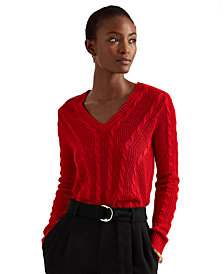 Lauren Ralph Lauren V-Neck Cable-Knit Sweater