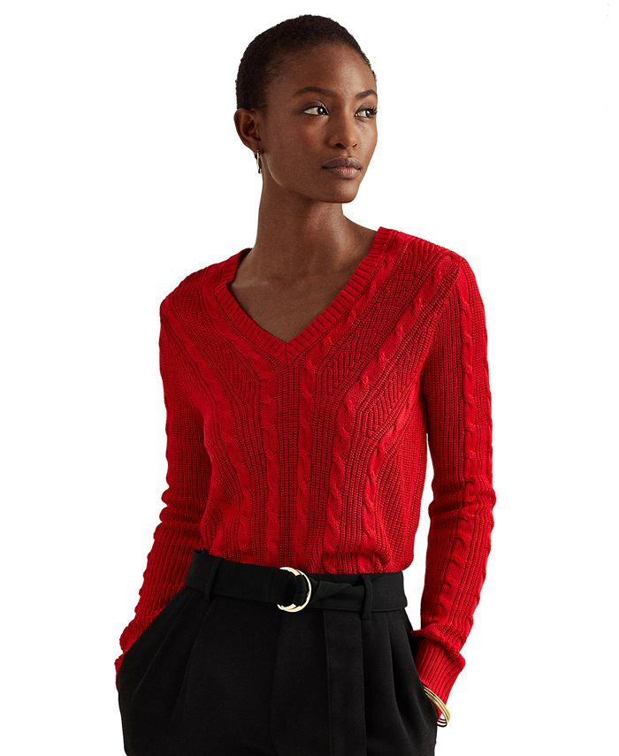 Lauren Ralph Lauren - V-Neck Cable-Knit Sweater