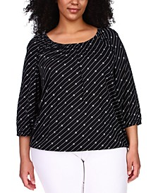 Plus Size Striped Logo Peasant Top