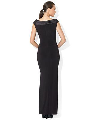 Lauren Ralph Lauren Sleeveless Portrait Collar Draped Gown Dresses