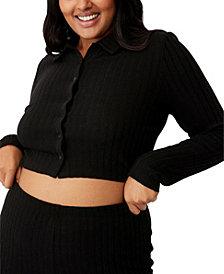 COTTON ON Women's Trendy Plus Size Renee Rib Polo Long Sleeve Top